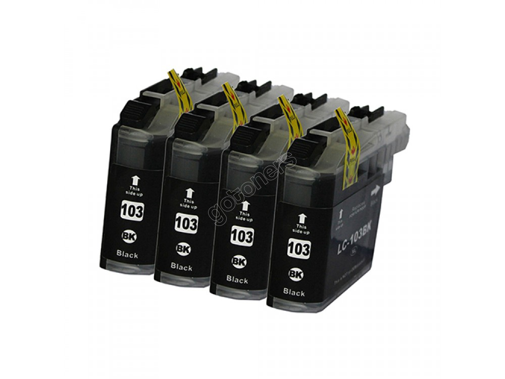 Gotoners™ Brother New Compatible LC103BK XL Black Inkjet Cartridge, High Yield, 4 Pack