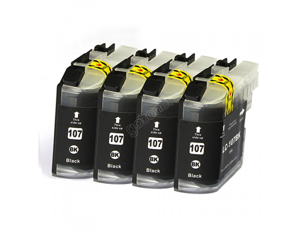 Gotoners™ Brother New Compatible LC105/107BK XXL Black Inkjet Cartridge, Extra Yield, 4 Pack