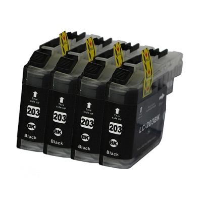 Gotoners™ Brother New Compatible LC203BK Black Inkjet Cartridge, Standard Yield, 4 Pack
