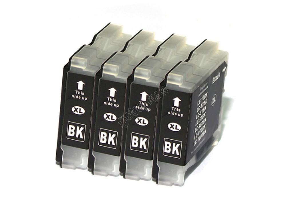 Gotoners™ Brother New Compatible LC51BK XL Black Inkjet Cartridge, High Yield, 4 Pack