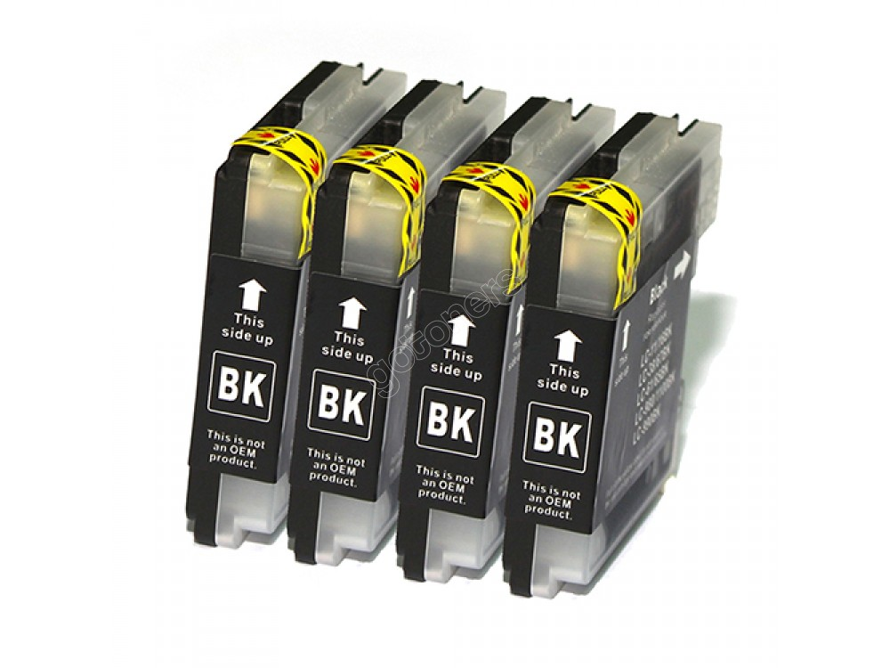 Gotoners™ Brother New Compatible LC61BK Black Inkjet Cartridge, Standard Yield, 4 Pack