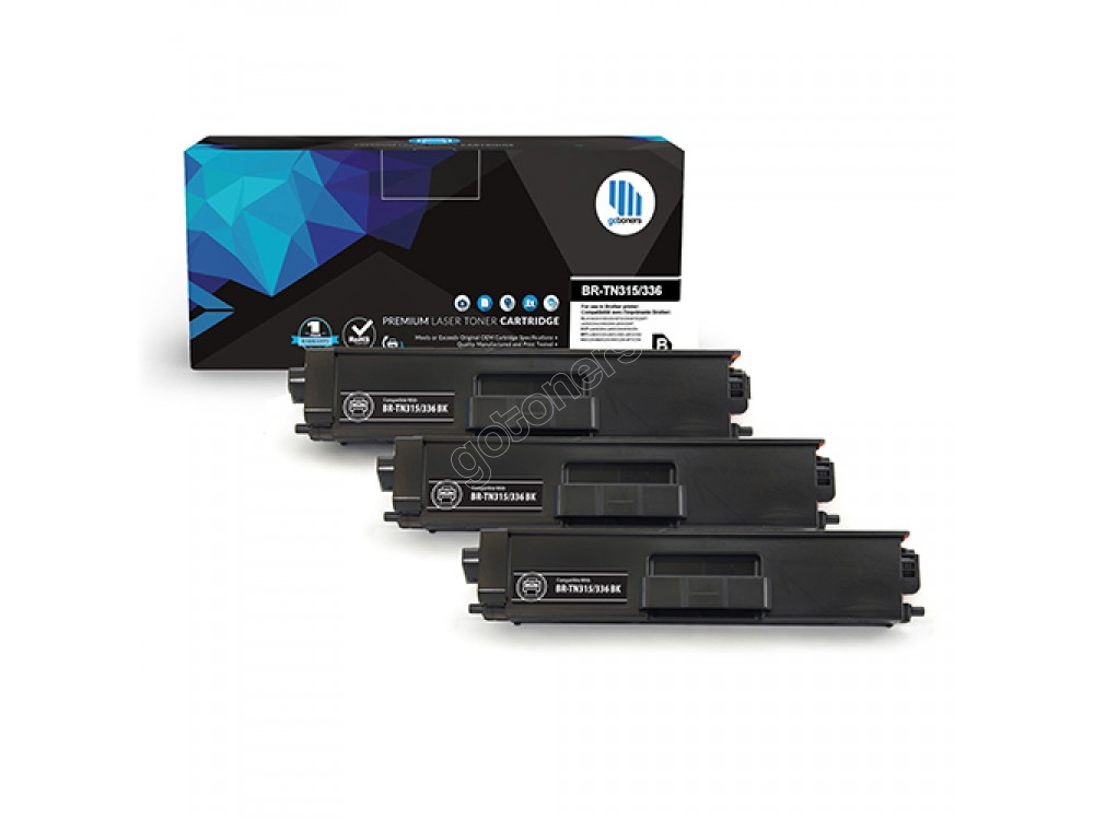 Gotoners™ Brother New Compatible TN-336BK Black Toner, High Yield, 3 Pack