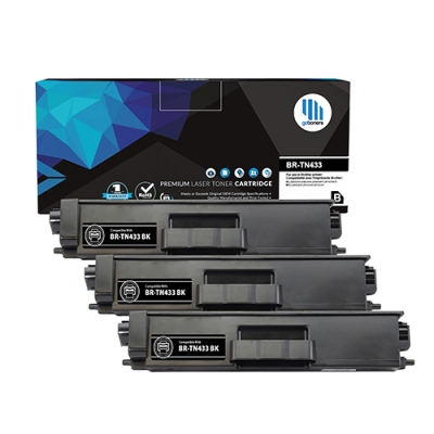 Gotoners™ Brother New Compatible TN-433BK Black Toner, High Yield, 3 Pack