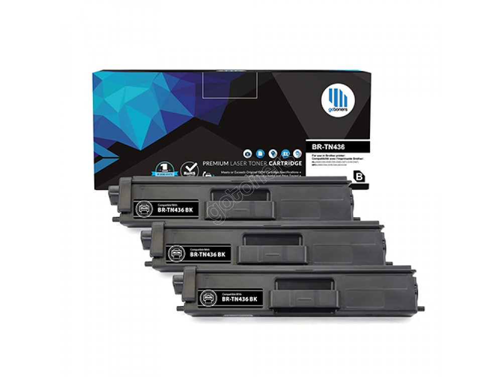 Gotoners™ Brother New Compatible TN-436BK Black Toner, Extra Yield Version of TN-433BK, 3 Pack