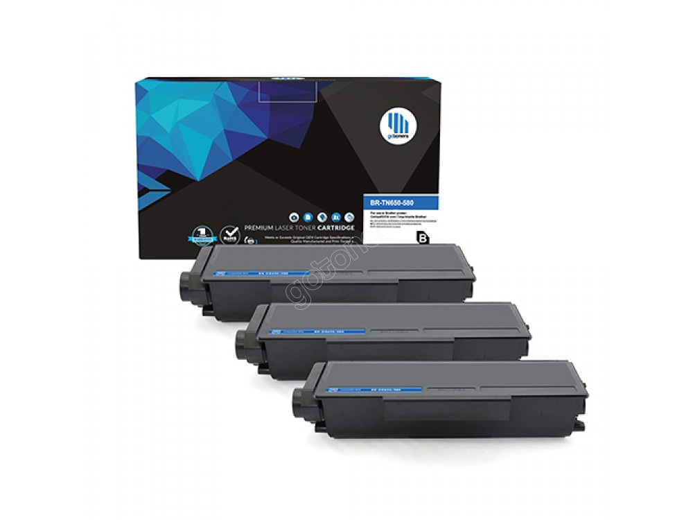 Gotoners™ Brother New Compatible TN-580BK Black Toner, High Yield, 3 Pack