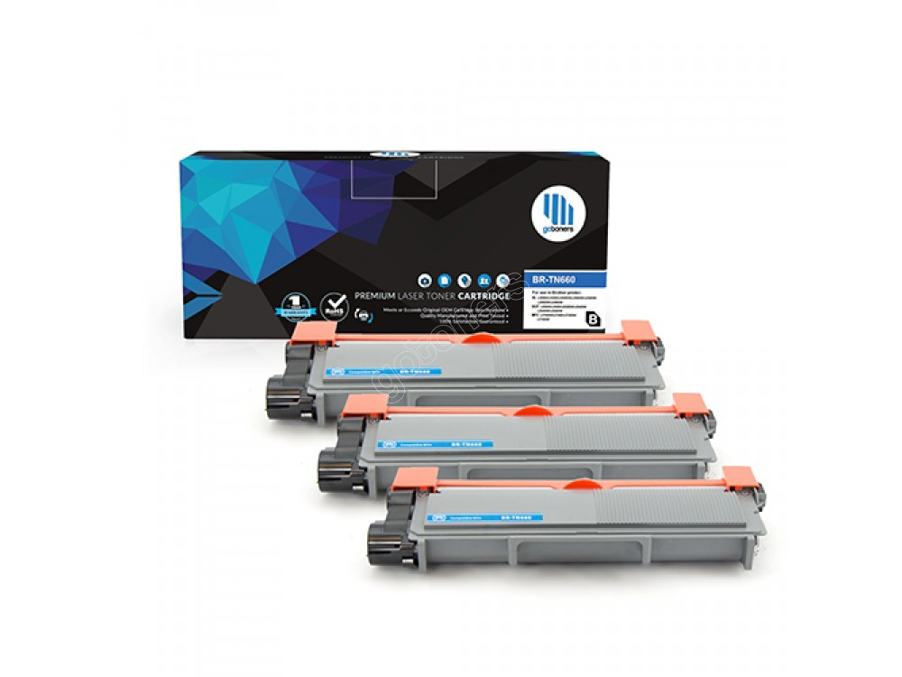 Gotoners™ Brother New Compatible TN-660BK Black Toner, High Yield Version of TN-630BK, 3 Pack