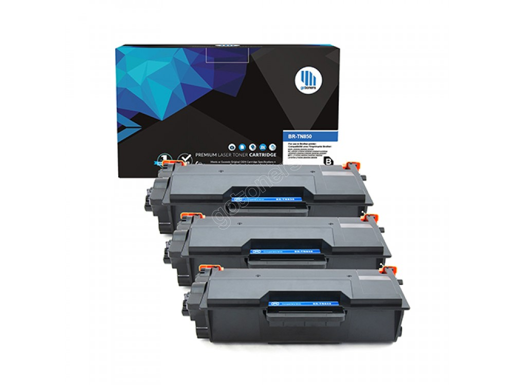 Gotoners™ Brother New Compatible TN-850BK Black Toner, High Yield Version of TN-820BK, 3 Pack