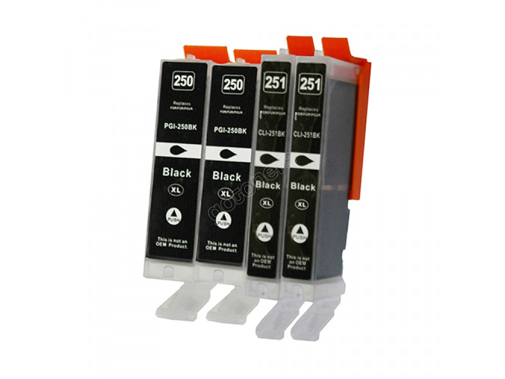 Gotoners™ Canon New Compatible PGI-250BK+CLI-251BK XL Black Inkjet Cartridge, High Yield, 4 Pack