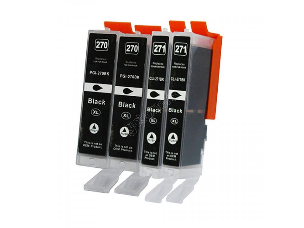 Gotoners™ Canon New Compatible PGI-270BK+CLI-271BK XL Black Inkjet Cartridge, High Yield, 4 Pack