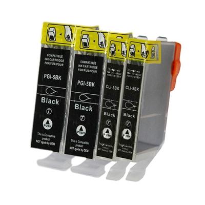 Gotoners™ Canon New Compatible PGI-5BK+CLI-8BK Black Inkjet Cartridge, Standard Yield, 4 Pack