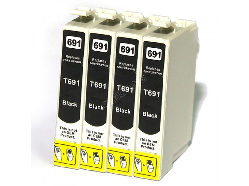 Gotoners™ Epson New Compatible T0691 Black Inkjet Cartridge, Standard Yield, 4 Pack