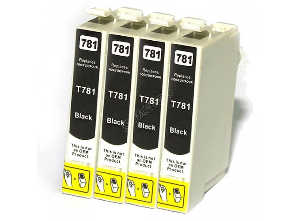Gotoners™ Epson New Compatible T0781 Black Inkjet Cartridge, Standard Yield, 4 Pack