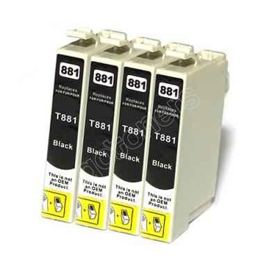 Gotoners™ Epson New Compatible T0881 Black Inkjet Cartridge, Standard Yield, 4 Pack