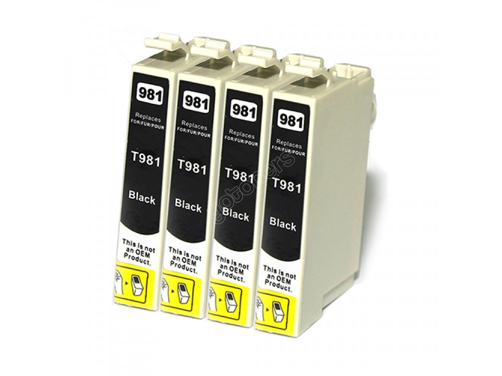 Gotoners™ Epson New Compatible T0981 Black Inkjet Cartridge, Standard Yield, 4 Pack
