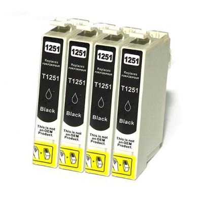 Gotoners™ Epson New Compatible T1251 Black Inkjet Cartridge, Standard Yield, 4 Pack