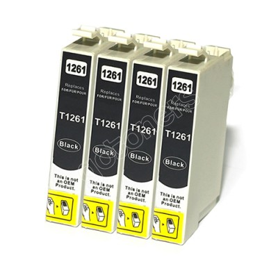 Gotoners™ Epson New Compatible T1261 Black Inkjet Cartridge, Standard Yield, 4 Pack