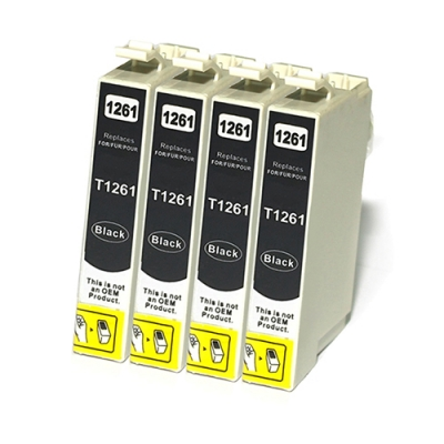 Gotoners™ Epson New Compatible T1261 Black Inkjet Cartridge, Standard Yield, 4 Pack