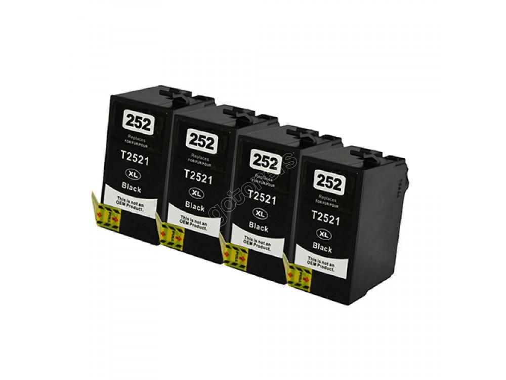 Gotoners™ Epson New Compatible T252BK XL Black Inkjet Cartridge, High Yield, 4 Pack