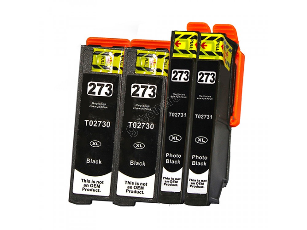 Gotoners™ Epson New Compatible T2730+T2731 Black Inkjet Cartridge, Standard Yield, 4 Pack