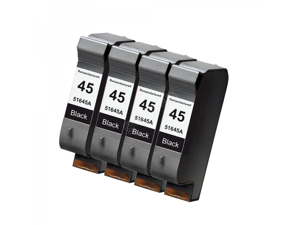 Gotoners™ HP Compatible 45 (51645A) Black Remanufactured Inkjet Cartridge, Standard Yield, 4 Pack