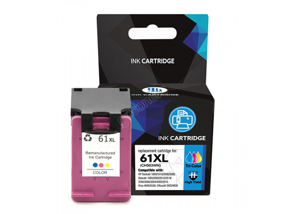 Gotoners™ HP Compatible 61XL C (CH564HE) Tri-Color Remanufactured Inkjet Cartridge, High Yield