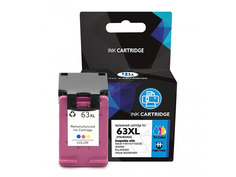 Gotoners™ HP Compatible 63XL C (F6U63AN) Tri-Color Remanufactured Inkjet Cartridge, High Yield