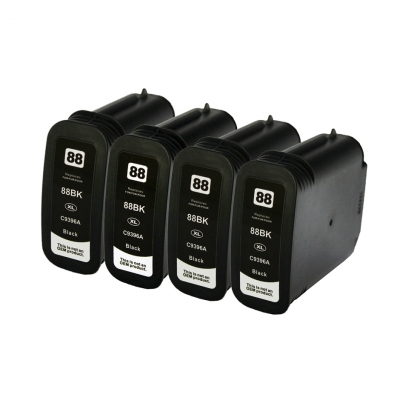 Gotoners™ HP Compatible 88XL BK (C9396AN) Black Remanufactured Inkjet Cartridge, High Yield, 4 Pack
