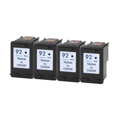 Gotoners™ HP Compatible 92 (C9362W) Black Remanufactured Inkjet Cartridge, Standard Yield, 4 Pack