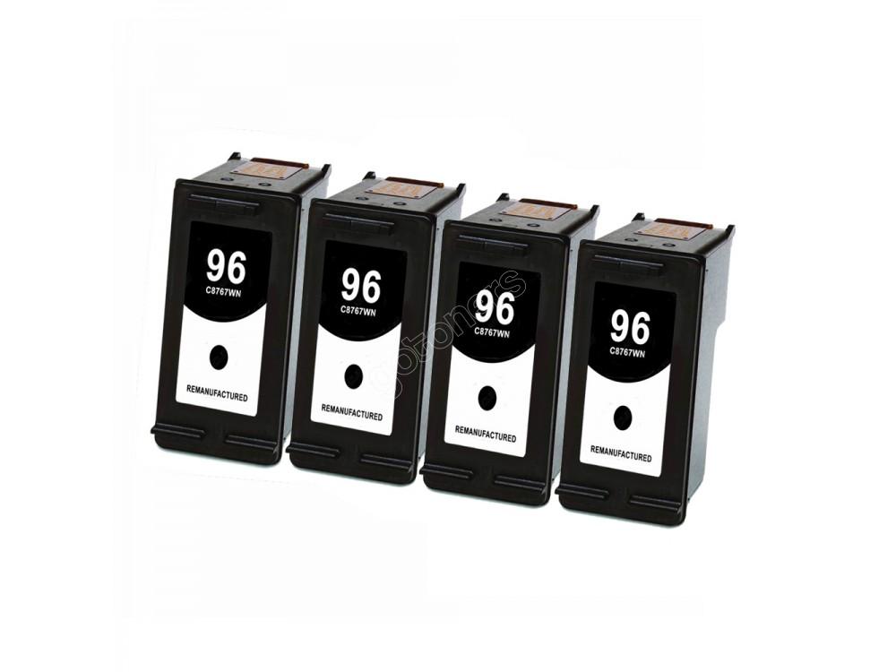 Gotoners™ HP Compatible 96 (C8767W) Black Remanufactured Inkjet Cartridge, Standard Yield, 4 Pack