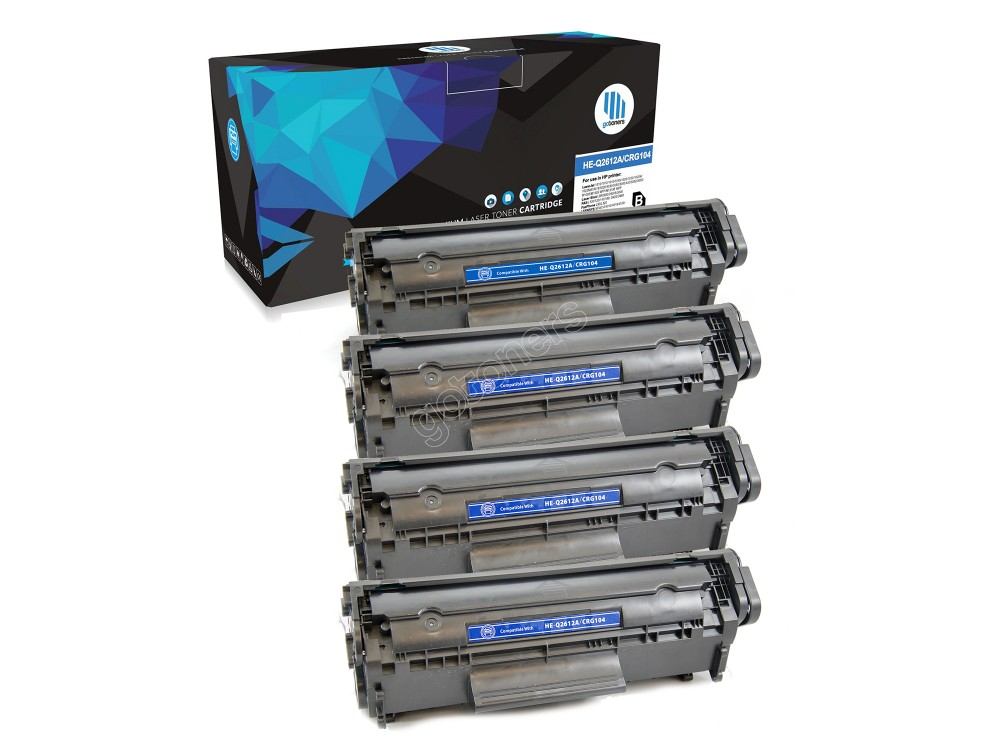 Gotoners™ HP New Compatible Q2612A (12A) Black Toner, Standard Yield, 4 pack