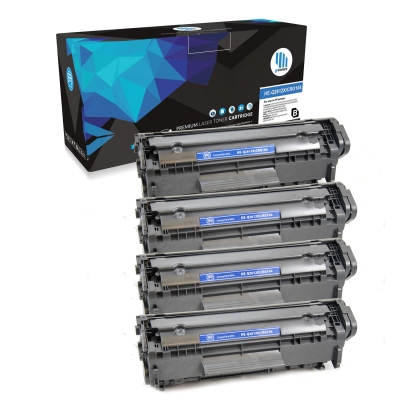 Gotoners™ HP New Compatible Q2612X (12X) Black Toner Cartridge, High Yield, 4 Pack